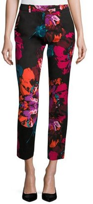 Trina Turk Aubree 2 Cropped Floral Pants, Black $268 thestylecure.com