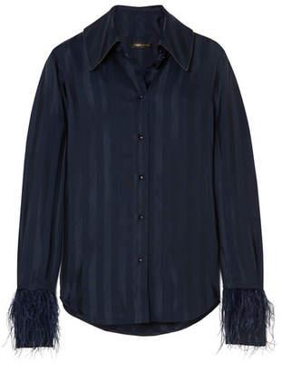 Stine Goya Mei Feather-embellished Striped Satin-jacquard Shirt - Midnight blue