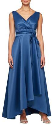 Alex Evenings Wrap Look Satin Evening Dress (Regular & Petite)