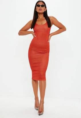 Missguided Orange Plaid Sleeveless Midi Dress