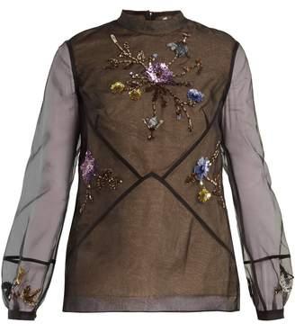 Erdem Bernice embellished silk-organza blouse
