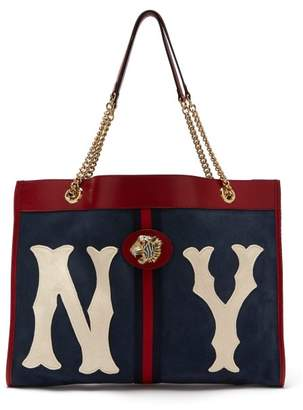 Gucci Rajah Ny Yankees Patch Suede Bag - Womens - Navy White