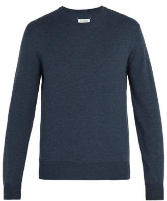 Maison Margiela Elbow Patch Wool And Cotton Blend Sweater - Mens - Blue