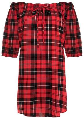 Quiz Red And Black Check 3/4 Sleeve Tunic Dress