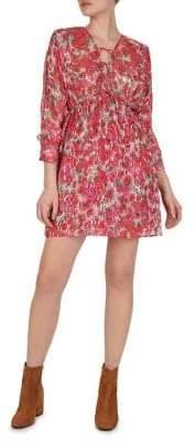 The Kooples Cherry Blossom-Print Silk-Blend A-Line Dress