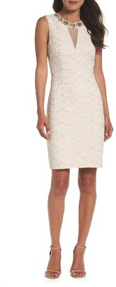 Women's Eliza J Embellished Lace Sheath Dress $168 thestylecure.com