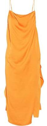 IRO Altara Asymmetric Draped Crepe De Chine Midi Dress