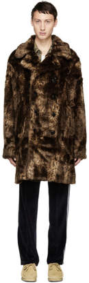 Needles Brown Leopard Faux-Fur Peacoat