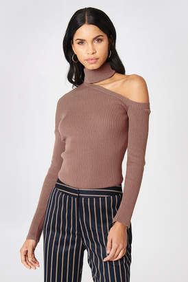 NA-KD Na Kd High Neck Cut Out Shoulder Sweater Dusty Dark Pink