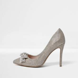 River Island Gold wide fit embellished bow pumps