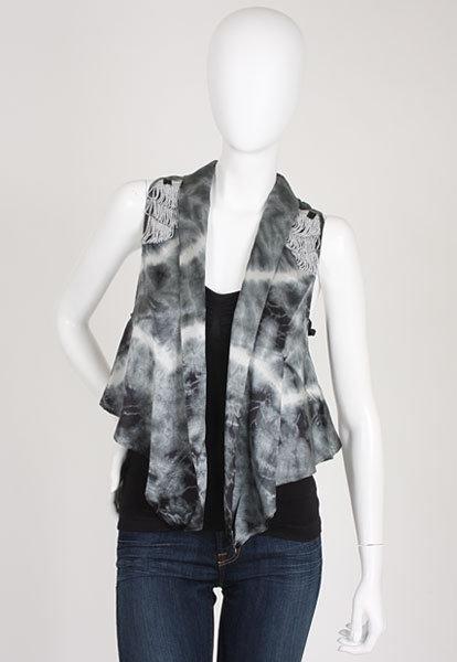 Chelsea Flower Tie Dye Fringe Vest in Slate