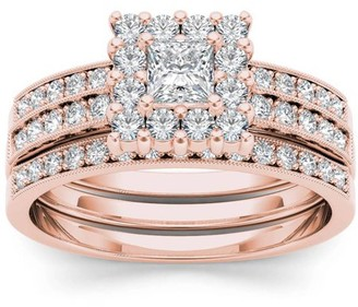 Imperial Diamond Imperial 7/8 Carat T.W. Diamond Single Halo Two-Band 14kt Rose Gold Engagement Ring Set