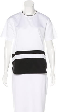 Alexander Wang T by Alexander Wang Embroidered Short Sleeve Top
