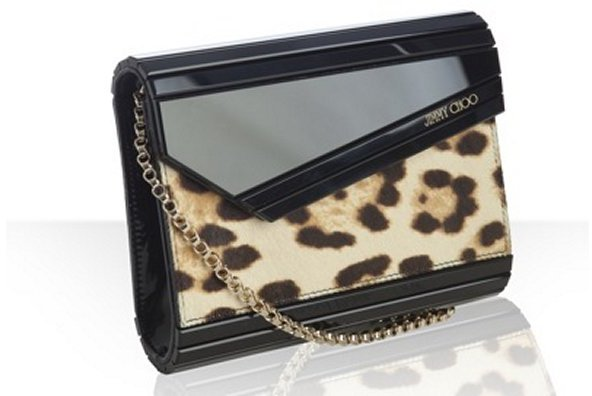 Jimmy Choo black resin and leopard calf hair 'Candy' convertible clutch