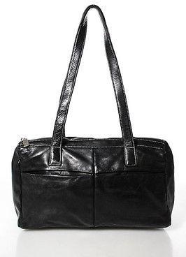Perlina Black Leather Double Strap Zipper Top Shoulder Handbag $29 thestylecure.com