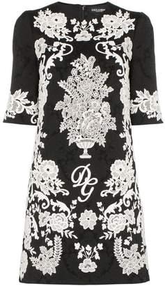 Dolce & Gabbana floral embroidered jacquard dress