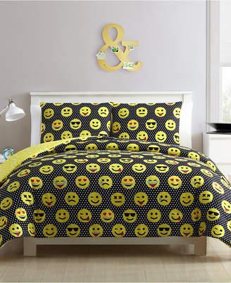 Facey Emoji Reversible 4-Piece Comforter Set - Full/Queen Bedding