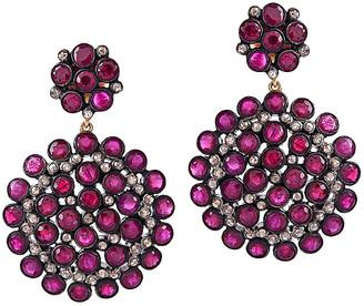 Artisan Jewelry Artisan 14K & Silver 18.84 Ct. Tw. Diamond & Ruby Earrings