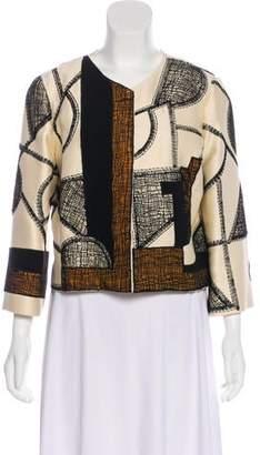 Oscar de la Renta Embroidered Snap Jacket