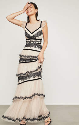 BCBGMAXAZRIA Embroidered Tiered Ruffle Gown
