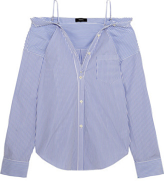Theory - Tamalee Off-the-shoulder Striped Cotton-poplin Shirt - Blue $265 thestylecure.com