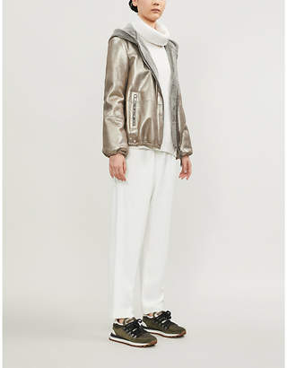 Brunello Cucinelli Faux-fur-trimmed metallic leather jacket