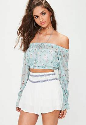 Missguided Blue Floral Mesh Bardot Crop Top
