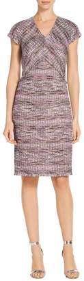 St. John Anna Woven Stripe Knit A-Line Dress
