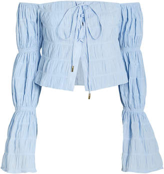 Cult Gaia Claire Gathered Puff Sleeve Blouse