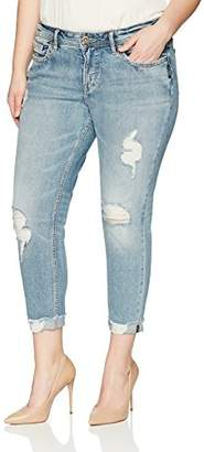 Silver Jeans Co. Women's Plus Size Suki Curvy Fit Mid Rise Skinny Crop Jeans