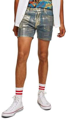 Topman Foil Stretch Denim Shorts