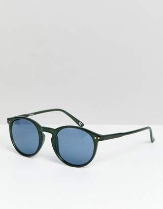 Asos DESIGN round sunglasses in matte green with blue lens