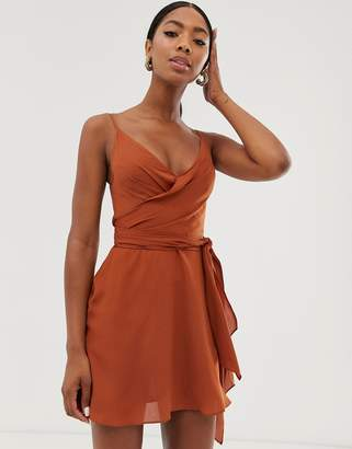 Asos Design DESIGN cami wrap mini dress with tie waist