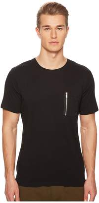 The Kooples Black T-Shirt with Bomber Zipper Pocket Men's T Shirt