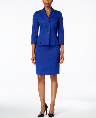 Le Suit Textured Three-Button Skirt Suit $200 thestylecure.com