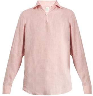 Finamore 1925 - Minorca Spread Collar Linen Shirt - Mens - Pink