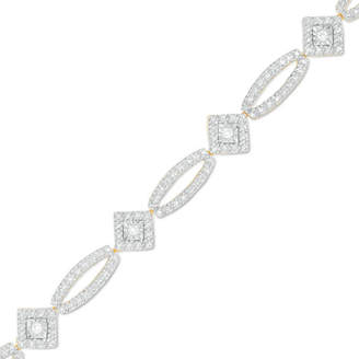 """Zales 1/8 CT. T.W. Diamond Tilted Square and Oval Bracelet in Sterling Silver with 14K Gold Plate - 7.5"""""""