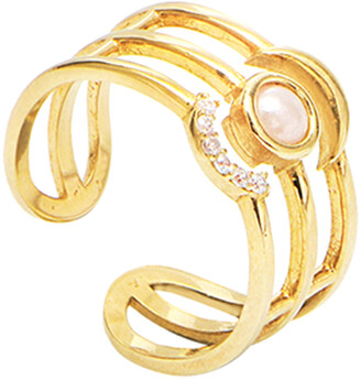 GABIRIELLE JEWELRY Gold Over Silver Cz Ring