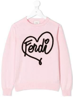 Fendi heart logo applique jumper