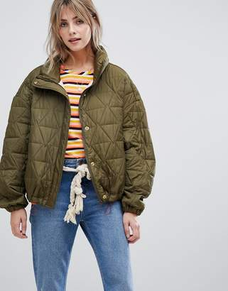 Maison Scotch loose quilted jacket with adjustable bottom
