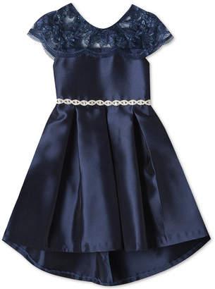 Rare Editions Big Girls Embroidered Illusion-Neck Dress