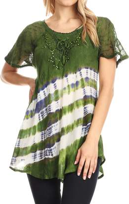 Lulu Sakkas 18726 Short Sleeve Summer Casual Fresh Blouse Top Lace Tie-dye & Corset - OS