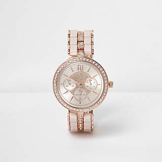 River Island Rose gold tone rhinestone watch