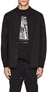 Filling Pieces Men's Baseball-Collar Cotton Poplin Shirt-Black