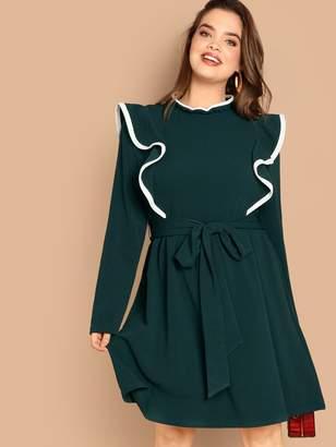 Shein Plus Ruffle Trim Keyhole Back Belted Dress