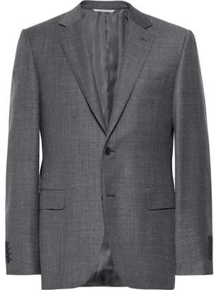 Canali Dark-Grey Slim-Fit Mélange Wool-Sharkskin Suit Jacket