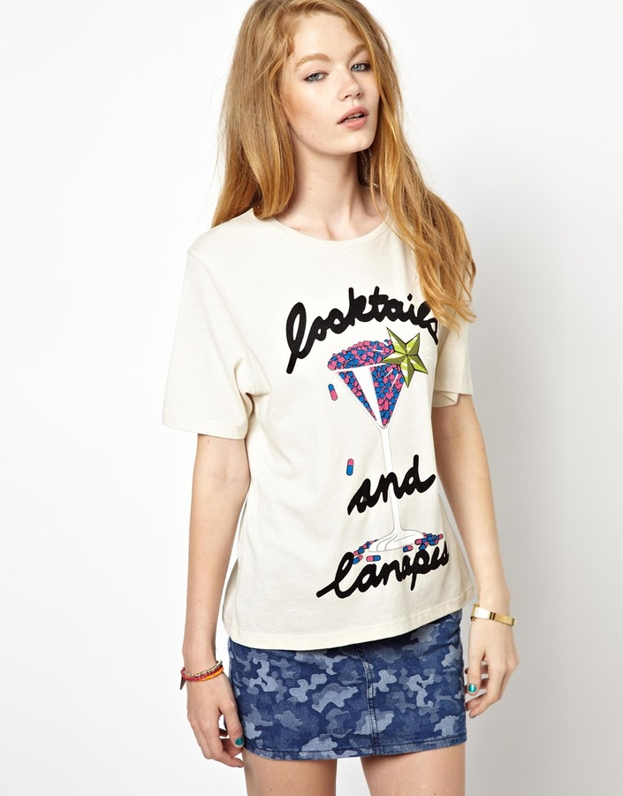 House of Holland Regular T-Shirt with Cocktails and Canapes Print