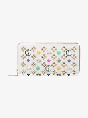 Christian Louboutin white and pink Panettone stud embellished leather wallet