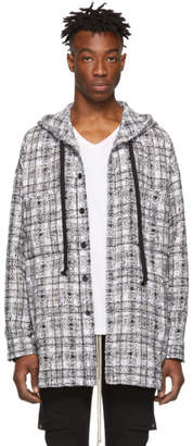 Faith Connexion SSENSE Exclusive Black and White Tweed Hooded Shirt