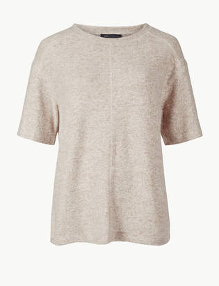 Marks and Spencer Cosy Round Neck Half Sleeve Top